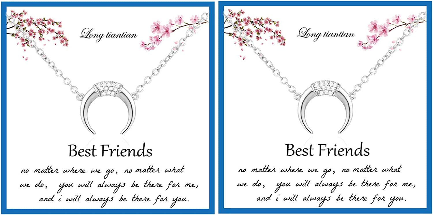 Long tiantian 2Pcs Crescent Moon Pendant Necklace for Women Half Moon Necklace Best Friend Necklaces for 2 Friendship Necklace Jewelry Gifts for Best Friend