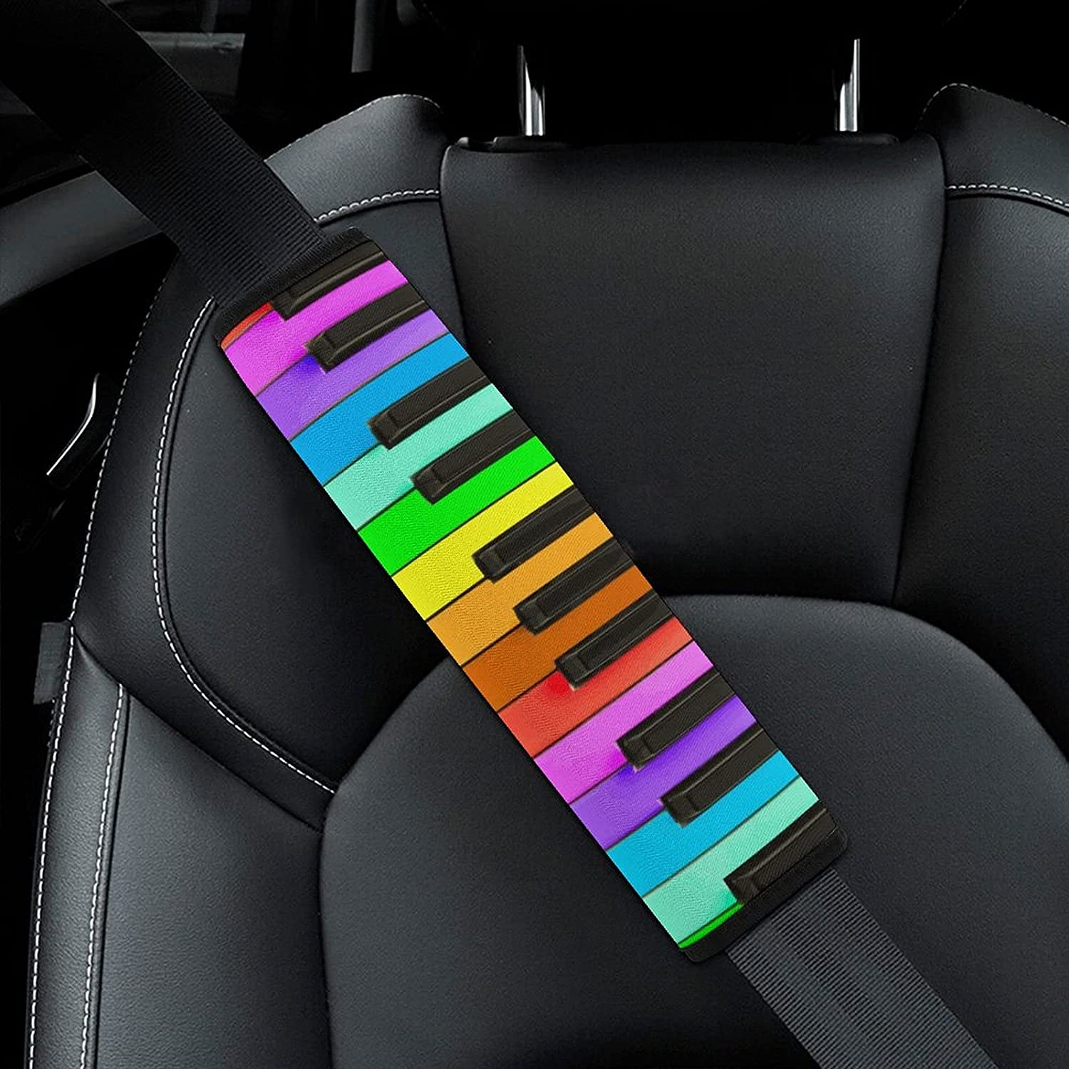 Rainbow Piano Keyboard Pattern Car Large special price Limited Special Price Seat Cover Belt Adult for Pad