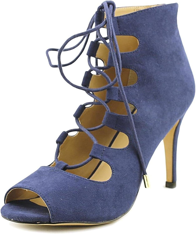 Thalia Sodi Womens Luana Suede Open Toe Casual Strappy Sandals, Navy, Size 5.5