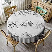ScottDecor Jacquard Tablecloth Mountain Snowy ICY Mountain Tops Peaks in Winter Hand Drawn Style Climbing Collection Black and White pad Round Tablecloth Diameter 70