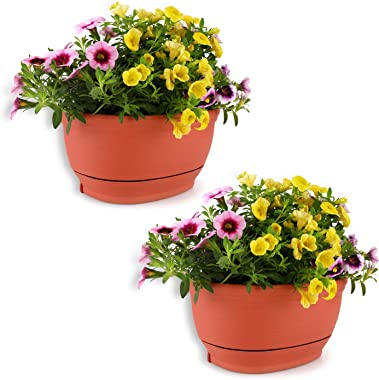 T4U 22cm プラスチック 壁掛け鉢 植木鉢 プランター ハンギング鉢 観葉植物適用 受け皿付き レッド 2点入り