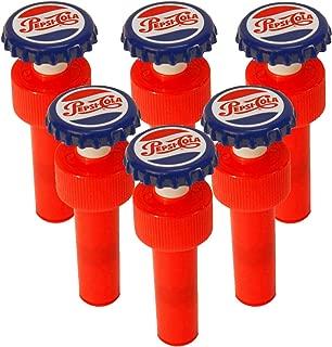 Jokari 18010P6 6 Count Pepsi Heritage Logo Fizz Keeper Soda Bottle Pump Cap, Red/White/Blue