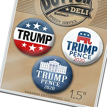 Donald Trump Mike Pence 2020 Pins 3-Pack Buttons 2.25 Inches White House Wave Flag 3510