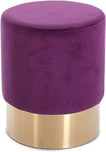 """Design HOCKER""""Velluto""""   Ø 35 cm, Purple, Samtbezug   Sitzhocker"""