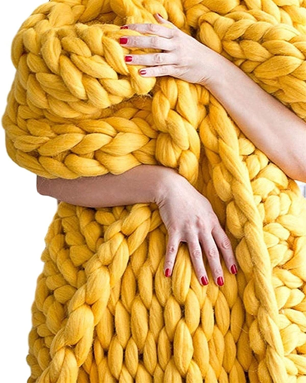YXYH Challenge the lowest price of Japan Chunky Knit Blanket Soft Thick Max 69% OFF Hand Yarn Polyester