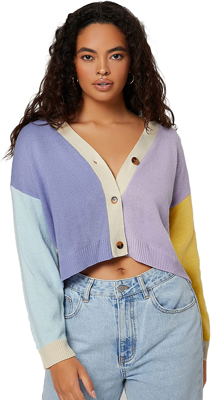 Verdusa Women's Colorblock Long Sleeve Button Front Knit Cardigan Sweater Outerwear