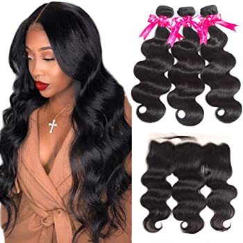 Brazilian Body Wave Human Hair Bundles with Frontal 8A Unprocessed 134 Ear to Ear Lace Frontal Closure with Bundles Natural Color (14/16/18+12Frontal)