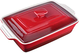 LOVECASA Stoneware Large Casserole Dish with Lid, 3.0 Quart Covered Rectangular Casserole Dish Set, Baking Dishes with Lid...