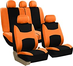 FH Group Stylish Cloth (Airbag & Split Ready) Full Set Car Seat Covers w. Steering Wheel Cover and Seat Belt Pads, Orange/Black- Fit Most Car, Truck, SUV, or Van