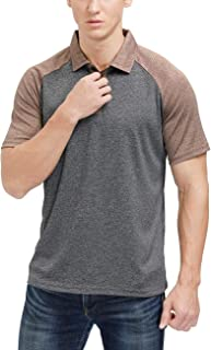 Men's Casual Short Sleeve Golf Polo Contrast Color Wicking Performance Athletic Polo Shirt
