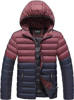 CFWL Giacca da Uomo in Cotone con Cappuccio Colorblock Winter Cotton Jacket Bomber Jacket Giacca Uomo Giacca A Vento Coton...