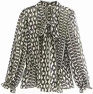 Cadena Estampado con Cuello Pajarita Camisa de Mujer Chifón Smock Ocio Señora Blusa de Manga Larga Tops Sueltos