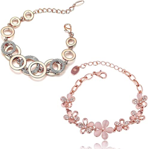 Shining Diva Fashion Latest Collection Gold Plated Combo of 2 Bracelet for Women and Girls (Rose Gold) (cmb285_8306b_...