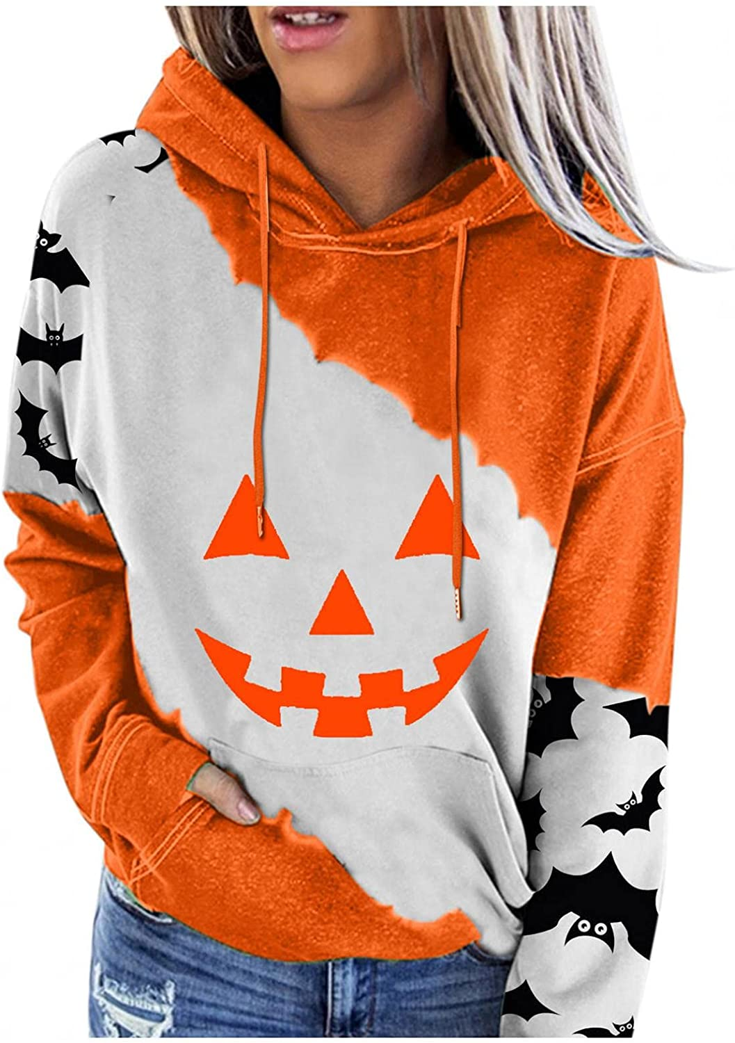 Qopobobo Our shop OFFers the best service Hoodies Seattle Mall for Women Long Graphic Sleeve Stitchi Halloween