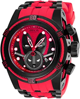 Invicta Men's Marvel Stainless Steel Quartz Watch with Silicone Strap, Red, 35 (Model: 27152)