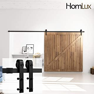 Homlux 12ft Heavy Duty Sturdy Sliding Barn Door Hardware Kit Single Door - Smoothly and Quietly - Simple and Easy to Install - Fit 1 3/8-1 3/4