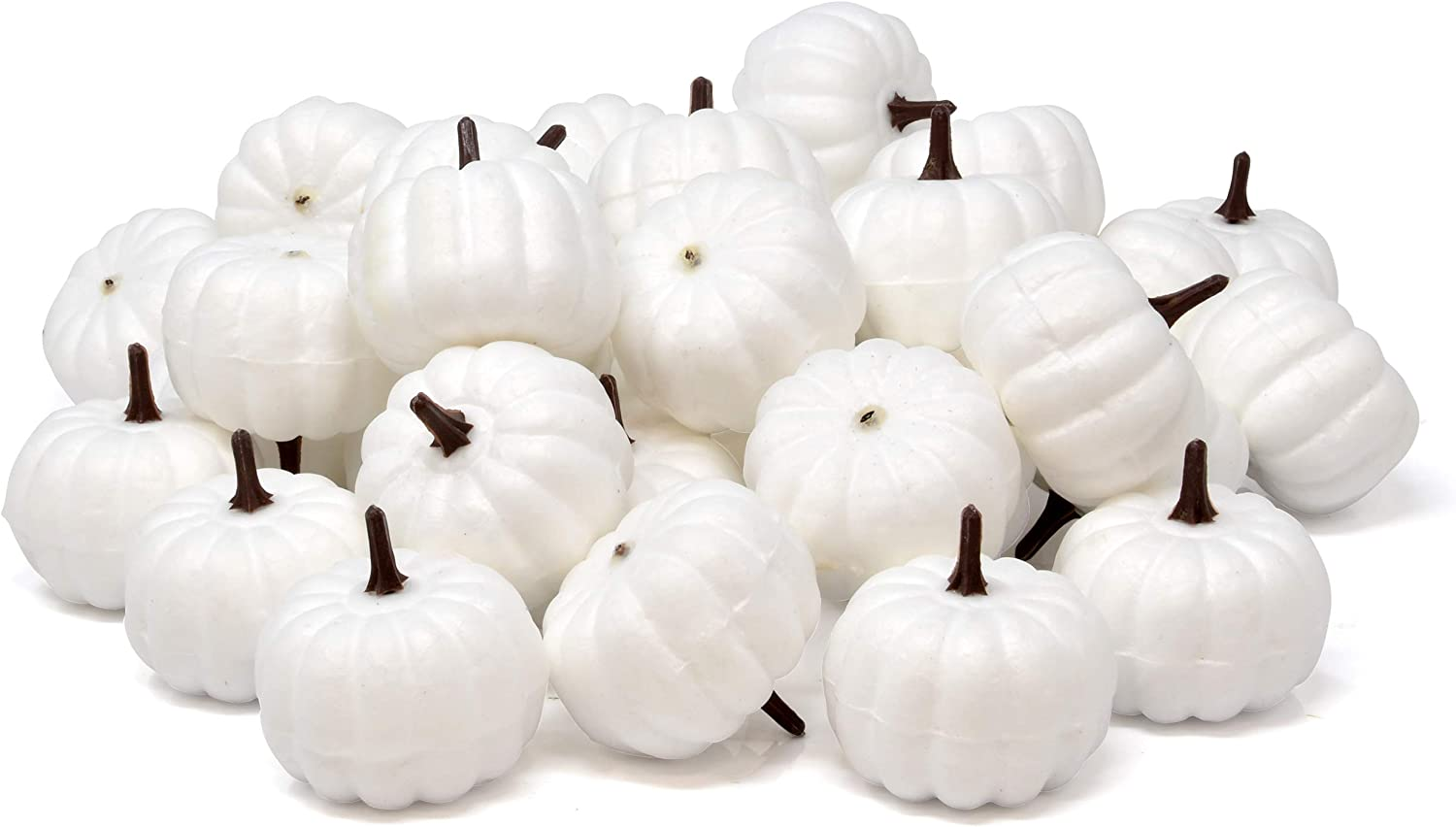 Gift Boutique 36 White Mini Pumpkins Artificial Realistic Halloween Harvest Small Pumpkin for Fall Autumn Thanksgiving Party Crafts Home Decor Indoor Outdoor Holiday Tabletop Centerpiece Decorations