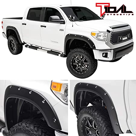 4 Piece Tyger Auto TG-FF8F4398 for 2007-2013 Toyota Tundra Smooth Matte Black Pocket Bolt-Riveted Style Fender Flare Set