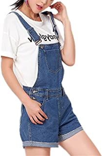 Tengfu Women's Vintage Ripped Distressed Denim Bib Strap Overall Shorts Romper