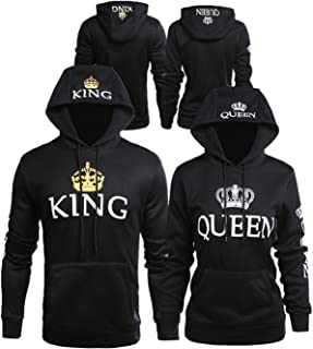 Bangerdei Matching Couple King and Queen His and Her Hooded Sweatshirt Pullover Hoodies