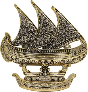 Modefa Islamic Turkish Table Decor Showpiece Gift Sculpture Figure Arabic 99 Names of Allah Sailboat Gold