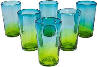 "NOVICA 258095 Aurora Tapatia Blown Highball Glasses, 6"" Tall, Blue"