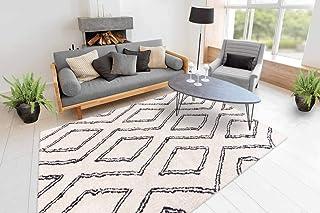One Couture Shaggy Alfombra de Pelo Largo, diseño de Rombos, Moderno, Color Crema, Blanco, salón, Comedor, Alfombra de Pasillo, tamaño: 120 cm x 170 cm