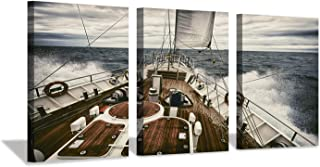 Hardy Gallery Nautical Canvas Picture Wall Art: Yacht Sailing in Ocean Artwork Boat Print on Canvas for Office Living Rooms (16'' X 12'' x 3 Panels)