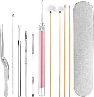 DUOUPA 耳かき 耳クリーナー 耳掃除 ステンレス製 竹製 LEDライト付き(10本セット)