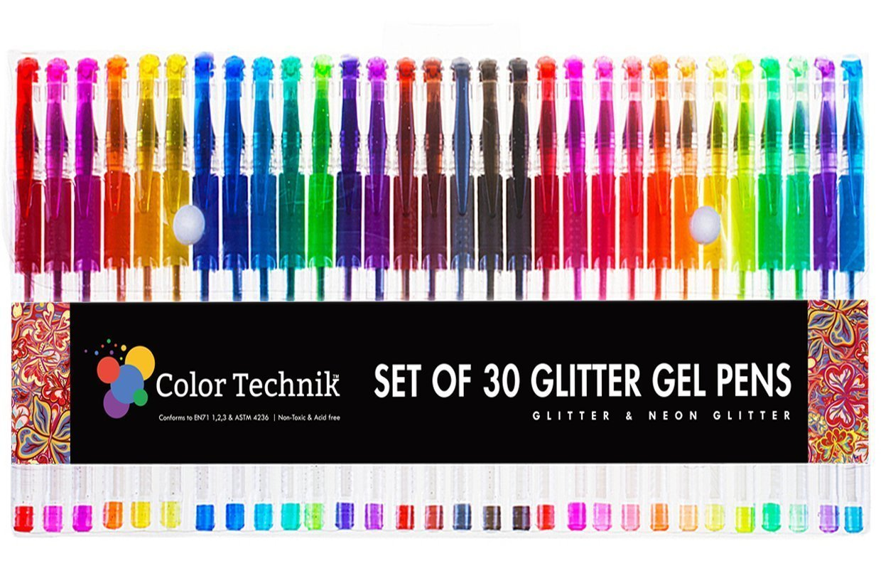 Professional Artist Quality Sayeec Super 48 Packs Color Gel Ink Pens Set for Adult Colouring Books 1.0mm Tip Range 12 Metallic 12 Glitter Draw,and Write 12 WaterChalk 12 Neon