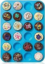 Muffin Tray Silicone Mini 24 Cups, Non Stick Muffin Pan Cupcake Bakeware Baking Mould, Dishwasher Safe (Blue)