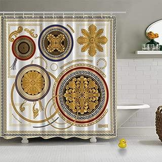 C COABALLA Vector Shawl Print Baroque Floral Scroll Vector Creative Shower Curtain for Kids Bathroom,79''L x 72''W