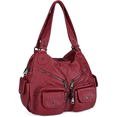 Damen Handtasche weiches Kunstleder Umhängetasche Große Schultertasche Damen Henkeltasche Reisetasche Hobo Taschen mit vielen fächern für Frauen Büro - Burgund Weinrot