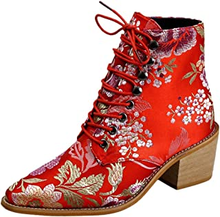 Ladies Stylish Cloth Embroidery Ankle Boot Women's Short Boots Pointed Toe Lace-Up Mid Heels Shoe
