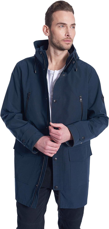 Alpine North Men's Raincoat | Weatherproof Storm Jacket with Drawstring Hood | Medium, Navy