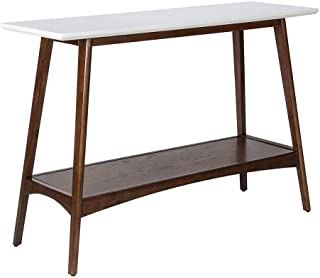 Madison Park Parker Accent Tables - Wood Console Table - White, Pecan, Modern Style Entry Tables - 1 Piece Lower Shelving ...