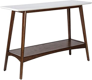 Madison Park Parker Console Tables - Solid Wood, Two-Tone Finish with Lower Storage Shelf Modern Mid-Century Accent Living Ro