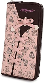 UTO Cartera RFID de Mujer Monedero Largo de Cremallera Moda Diseño Lazo Patrón Lindo Plegable con Bolsillo para Monedas Rosa