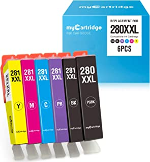 myCartridge 6-Pack Compatible Ink Cartridge Replacement for Canon 280 XXL 281XXL PGI-280XXL CLI-281XXL Fit with Canon PIXMA TS8120 TS8220 TS9120(Black PGBK Cyan Magenta Yellow Photo Blue) Ink Printer