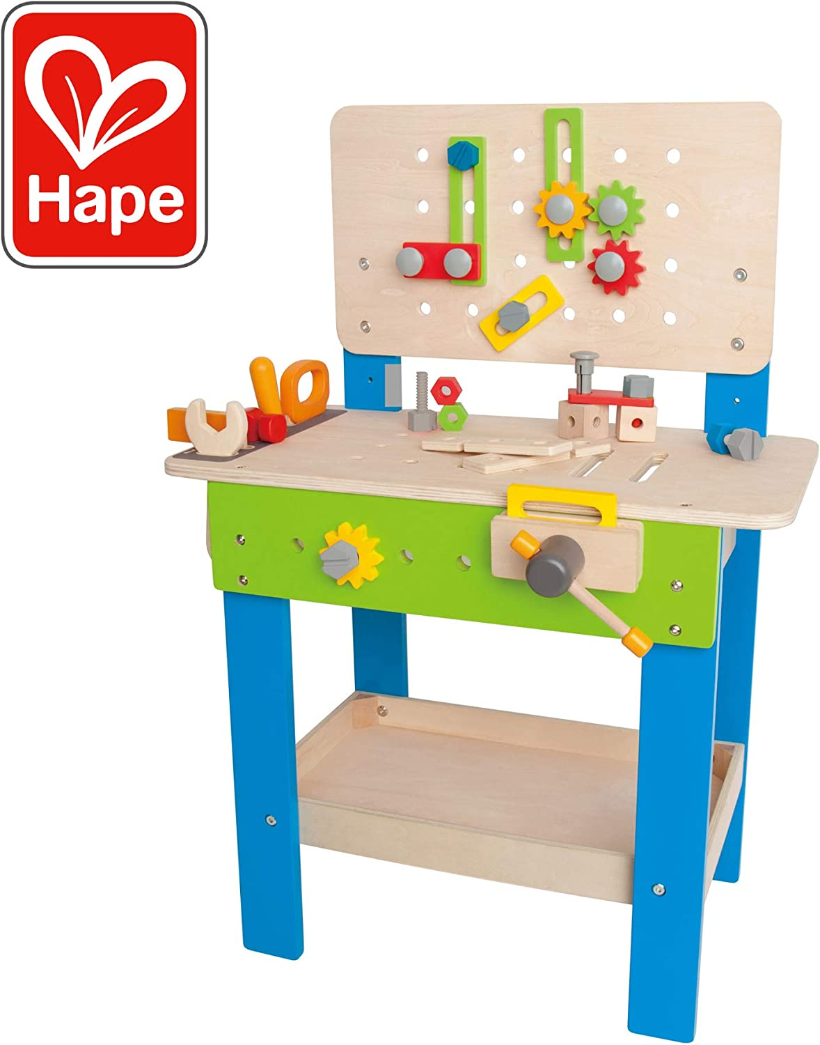 Master Workbench by Hape   Award Winning Kid's Wooden Tool Bench Toy Pretend Play Creative Building Set, Height Adjustable 32 Piece Workshop for Toddlers