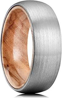 Nature 8mm Men's Tungsten Carbide Ring Brushed Dome Wedding Band with Wood Inner Comfort Fit