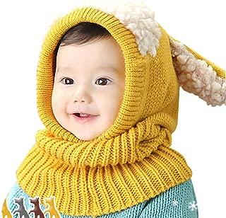 Baby Girls Boys Winter Hat Scarf Earflap Hood Scarves Caps (Yellow)