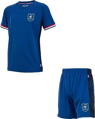 Equipe de FRANCE de football Ensemble Maillot + Short FFF - Collection Officielle Taille Enfant garçon