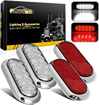 Partsam 4Pcs 6 Inch Oval Led Trailer Tail Lights 10 LED Red/White Sealed Waterproof LED Oval Stop Turn Tail Brake Backup Lights w/Chrome Bezels Flange Mount for Trailer Truck Boat (2White+2Red)