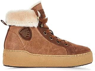 BLAUER Luxury Fashion Womens MADELINE04COGNAC Brown Hi Top Sneakers   Fall Winter 19
