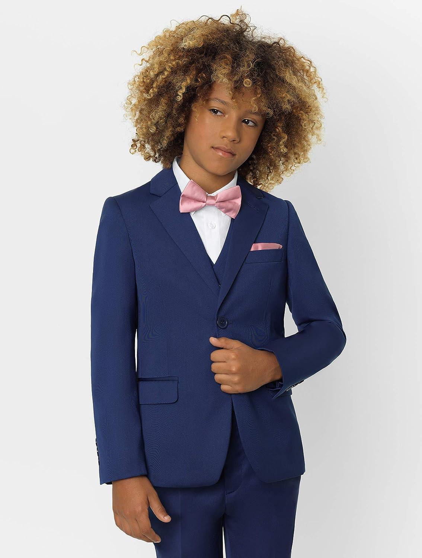 1-14 Years 3 Piece Wedding Suit Waistcoat /& Trouser Set Jacket Roco Boys Modern Fit Suit