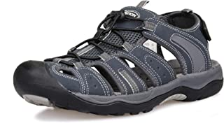 Mens Outdoor Hiking Sandals Closed Toe Waterproof Fisherman Water Sandals Lightweight Athletic Shoes Easy Wearing Adjustable Protection Summer