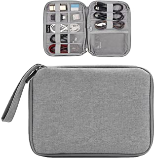 Honeystore Electronics Cable Organizer Universal Electronics Accessories Bag Travel Gear Organizer Electronics Gadget Bag for Various USB, Phone, Charger, Power Bank, SD Card and More Gray