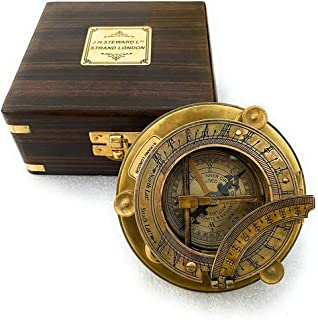 Antique Marine Nautical Decor Triangle Sundial Compass with Wooden Box, Brass Sun Dial Directional Magnetic for Navigatio...