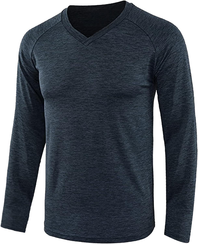 FORUU Mens Basic Tees 2021 Fall Winter Slim Fit Shirts Casual Solid T Shirts Fashion Long Sleeve Tops Cute Under Shirt